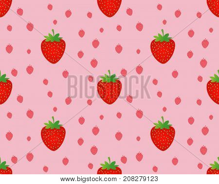seamless strawberry pattern on pink background vector illustration. strawberry background. strawberry texture.