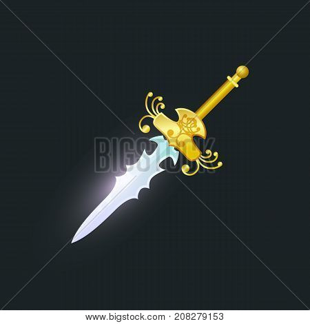Magic stiletto isolated element. Shiny medieval weapon for computer game design. Fight decoration, fantasy battle cartoon object vector illustration.