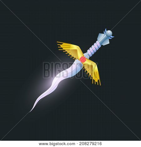 Magic dagger isolated element. Shiny medieval weapon for computer game design. Fight decoration, fantasy battle cartoon object vector illustration.