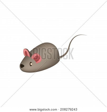 Little mouse toy for home cat icon. Pet store element, vet care accessory isolated vector illustration in flat style.