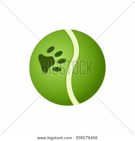 Green ball toy for home dog icon. Pet store element, vet care accessory isolated vector illustration in flat style.
