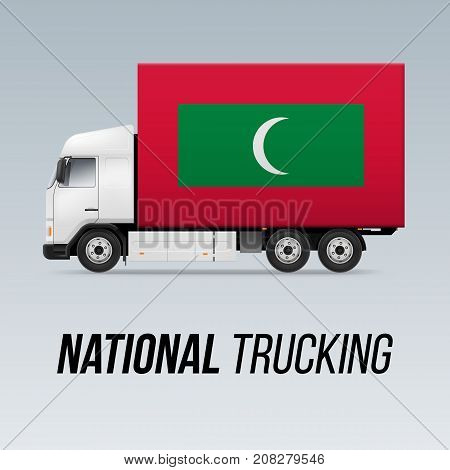 Symbol of National Delivery Truck with Flag of Maldives. National Trucking Icon and Maldivian flag
