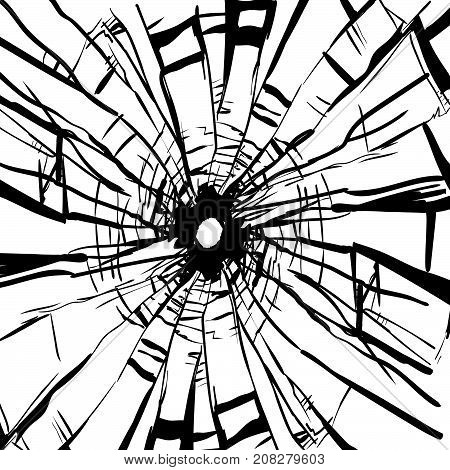 Broken Glass and hole in isolated on white background -Vector Illustration