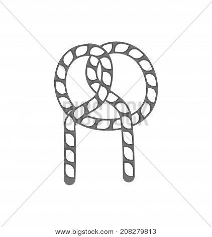 Rope knot outline icon. Seamless decorative design element, creative handmade isolated vector illustration