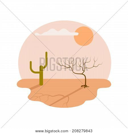 Drought desert isolated icon. Global warming and extreme climate. Warning about emergency situation vector illustration in cartoon style.