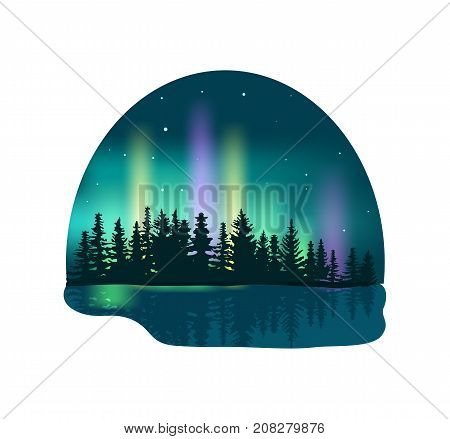 Northern lights over deep forest isolated icon. Colorful aurora borealis vector illustration in cartoon style.