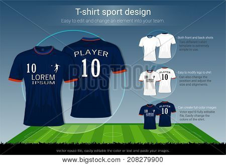 T-shirt sport design for football club on soccer playing field background, Front and back view jersey shirt uniform, Sport slim fit apparel mock up, Easy modify photo file to add logo into your team.