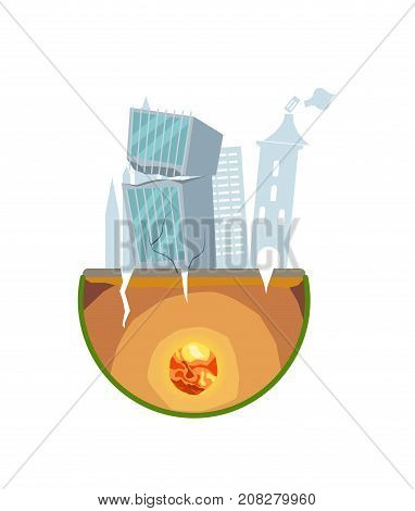 Earthquake damage isolated icon. Natural disaster and danger catastrophe. Warning about emergency situation vector illustration in cartoon style.