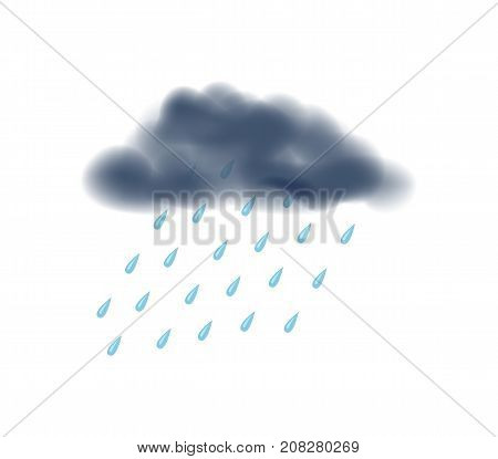 Rainy day isolated icon. Dangerous weather and extreme climate. Warning about emergency situation vector illustration in cartoon style.