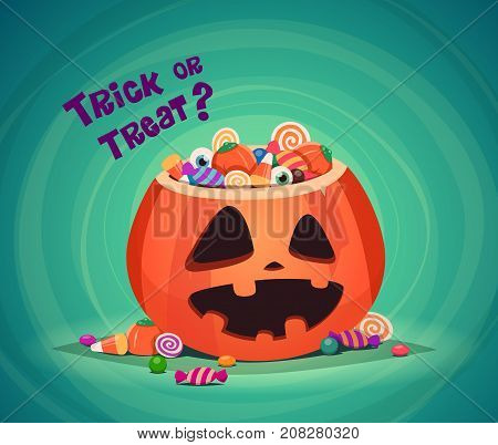 Trick or Treat. Halloween pumpkin bucket with candy.