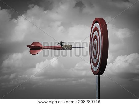 Business mission goal targeting as a manager on a dart focused on a bullseye as a corporate or life objective metaphor with 3D illustration elements.