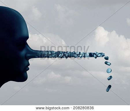Pharmaceutical lies and deception in medicine and medication dishonesty concept as a person with a long liar nose made of pills with 3D illustration elements.