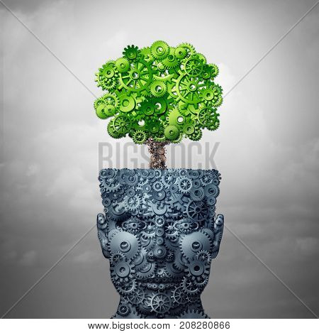 Technology growth and business training and computing development as artificial intelligence concept as a human head and growing tree made of industry gears as a 3D illustration.