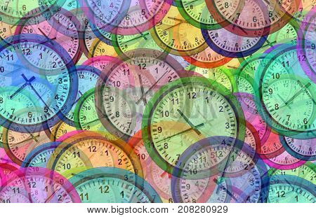 Time background with multiple clock symbols as a chronology and traveling pattern as a 3D illustration.