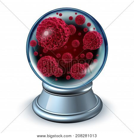 Cancer prognosis and malignant tumor prediction as a crystal ball with dangerous mutant cells as a 3D illustration on white poster