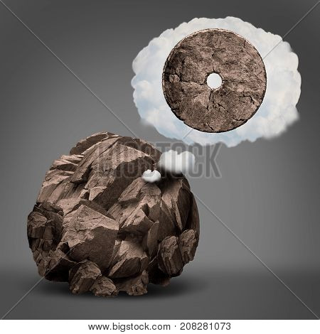 Dreaming of success and aspiration for ambition imagination as a rough rock imagining becoming a wheel in a dream cloud bubble in a 3D illustration style.