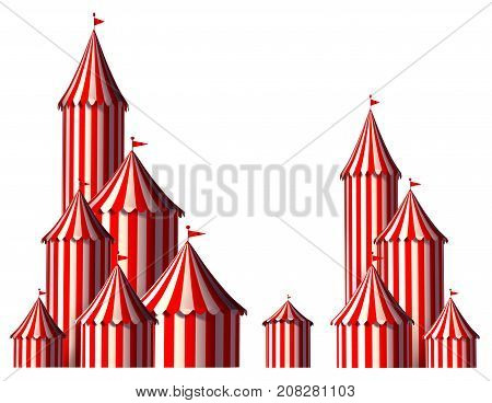 Circus tent design element as a group of big top carnival tents with an opening entrance as a fun entertainment icon for a theatrical celebration or party festival isolated on a white background as a 3D render.