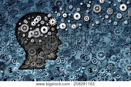 Neuroscience development and training concept as a group of cog wheels and gears shaped as human head with information transfer as a technology brain symbol or psychology exchange success as a 3D render.