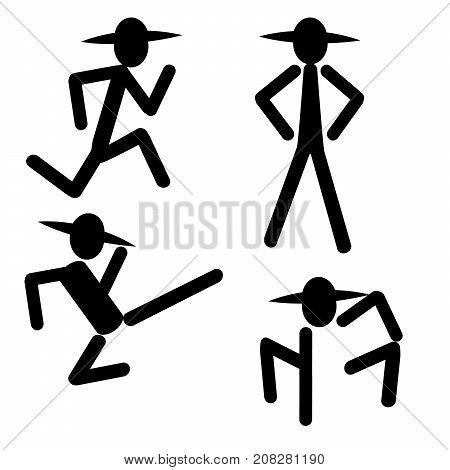 silhouette man kicking running standing icon banner logo vector
