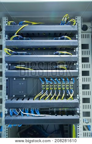 Network switch and ethernet cablesData Center Concept.