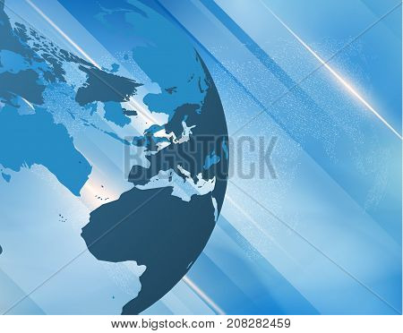 Abstract blue news vector with 3d globe map and diagonal shiny lines background. EPS10