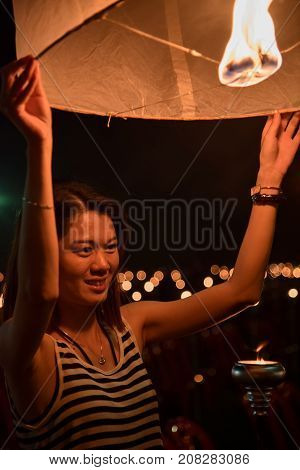 CHIANG MAI THAILAND - NOVEMBER 14 2016 : Unidentified people release floating lamp on sky in Loy Krathong Festival.