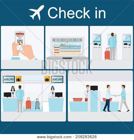 Businessman check-in at the airport with counter service self service check in web check in mobile app business travel conceptual vector illustration.