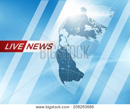 Earth globe business background with rising sun burst and shiny diagonal lines can be used for finance presentations, news backdrop, or corporate annual report. EPS10.