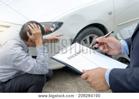 On The Road Car Accident Insurance Agent Examining Carcrash