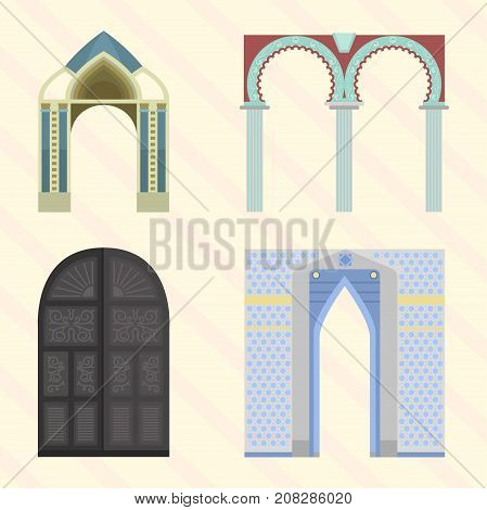 Arch vector architecture construction frame column entrance design classical illustration. History antique culture pillar exterior facade ornament gateway monuments