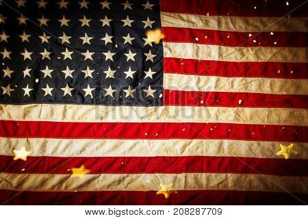 Background with vintage USA flag. Ready for montage. USA national holidays concept.