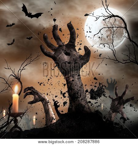 Scary Halloween background with zombie hands. Horror theme.