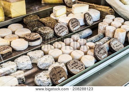 Different cheeses at open air-market.