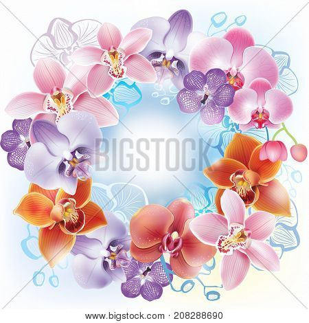 Greeting card with orchids flowers. Raster Version
