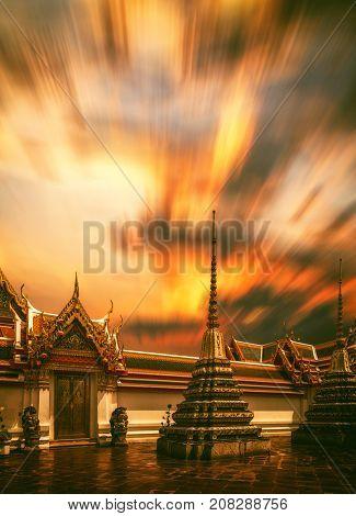 Wat Pho temple in Bangkok Thailand at sunset