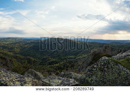 Beauty view in mountains of Altai. Kolyvan ridge - a mountain range in the north-west of the Altai Mountains, in the Altai Territory of Russia