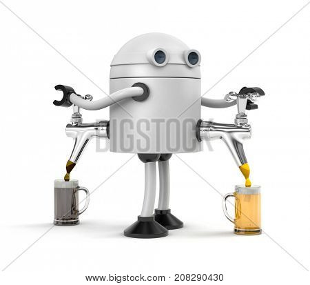 Robot barman pours beer from the tap white and black beer. Bartender pouring the fresh beer in pub. 3d illustration