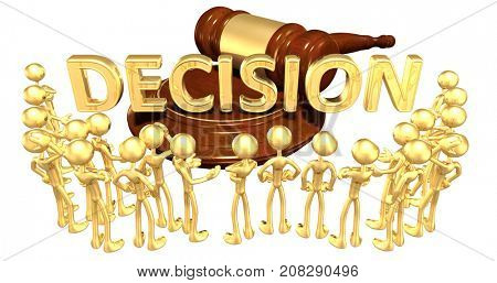 Decision Law Concept With The Original 3D Characters Illustration
