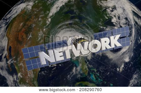 Network Satellite Telecommunications Signal Coverage Earth 3d Illustration - Elements of this image furnished by NASA