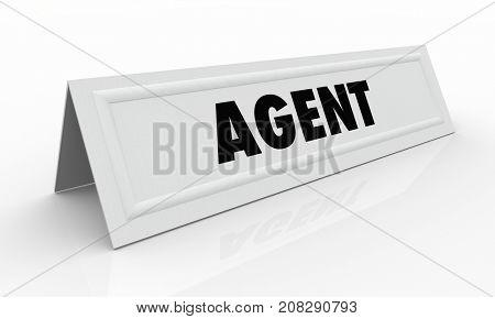 Agent Representative Name Tent Card Real Estate 3d Illustration