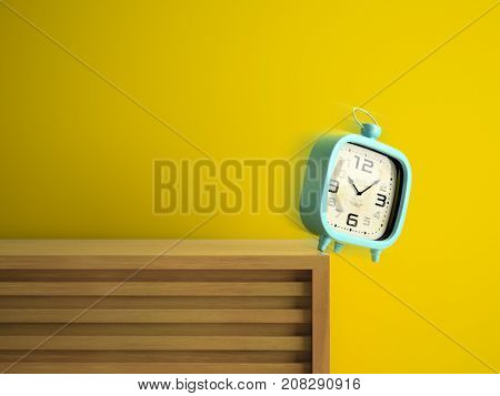 Retro alarm clock is falling from the table 3D rendering