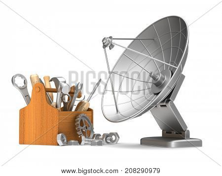service satellite aerial on white background. Isolated 3D illustration