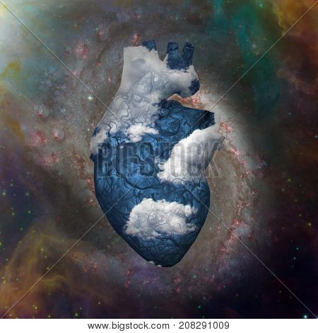 Cloud Heart with Galaxy  3D rendering     Some elements courtesy of NASA