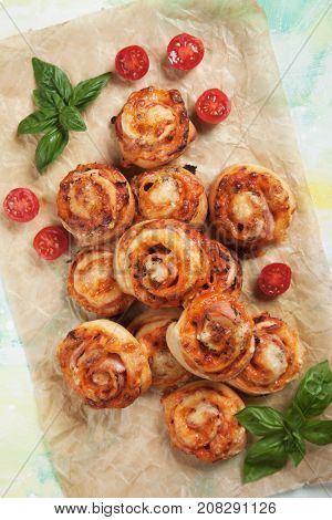 Home made pizza rolls with mozzarella cheese