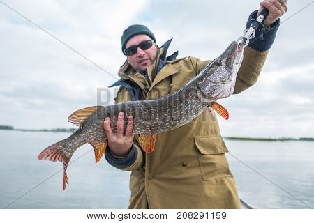 Amateur angler holds big pike fish (Esox lucius) weight of fish is 4.6 kg (10 lb)