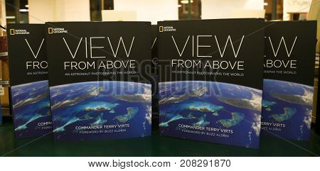 HUNTINGTON, NY - OCT 3: Copies of a book written by Commander Terry Virts -