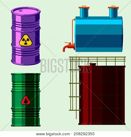 Stack different oil drums fuel container liquid cask storage object. Rows of steel barrels capacity tanks. Natural metal old oil bowels chemical vessel vector set.