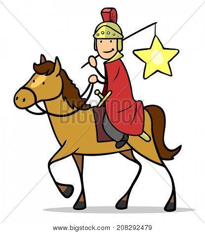 Saint Martin riding on horse during Saint Martin parade