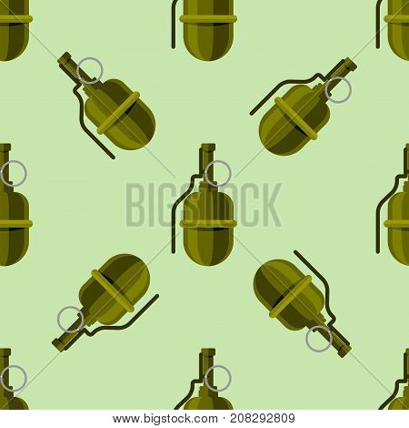 Grenade explosive bomb military and army weapon seamless pattern. Metal armed attack explode. Destruction steel equipment. Hand explosion weapons vector.