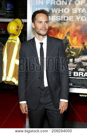Taylor Kitsch at the Los Angeles premiere of 'Only The Brave' held at the Regency Village Theatre in Westwood, USA on October 8, 2017.
